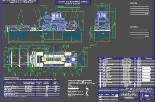 Cхема размещения и крепления бульдозера Komatsu