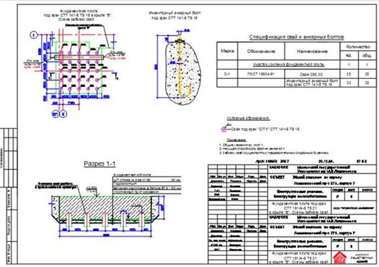 Фунд. плита под бкран CTT 141-8 TS 16
