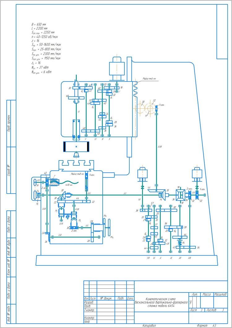 Кинематическая схема бесконсольноговертикально-фрезерного станка модели 6А54
