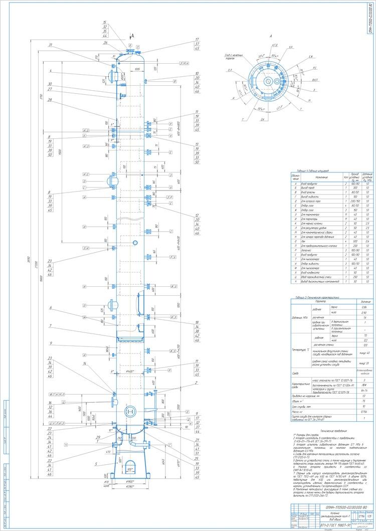 Колонна ректификационная поз. К-1 Вид общий
