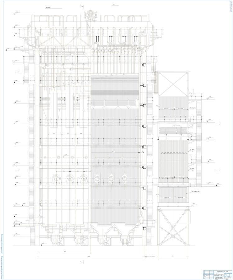 Котел БКЗ-420-140 поперечный и продольный разрезы (1)