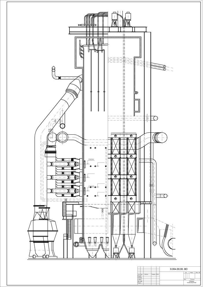 Котел БКЗ-500-140 - Вид с фронта