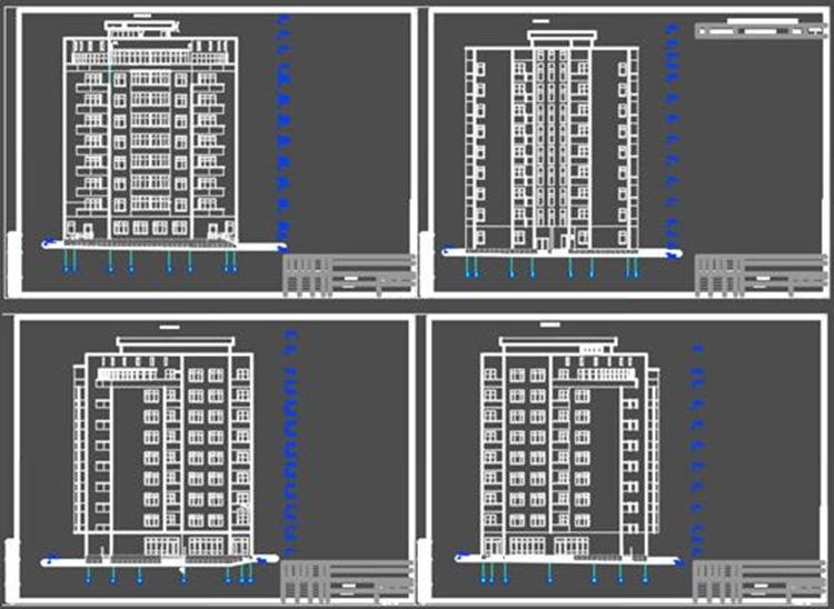 Многоэтажный жилой дом (планы этажей + фасады)
