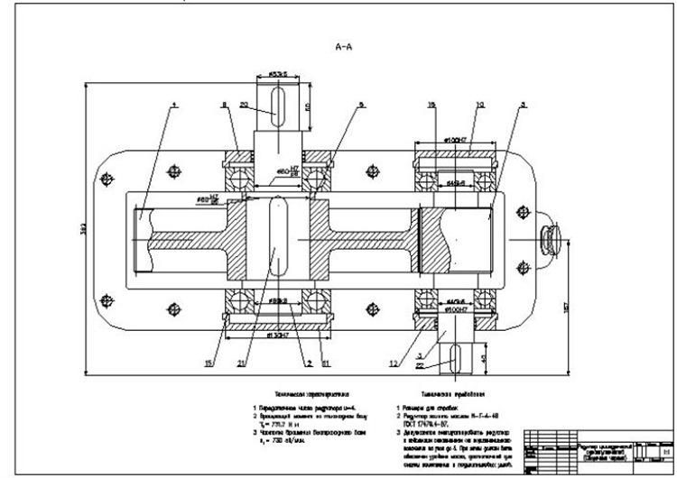Редуктор цилиндрический одноступенчатый