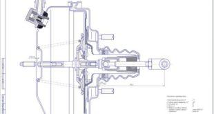 Вакуумный усилитель автомобиля Москвич-2140 Сборочный чертеж