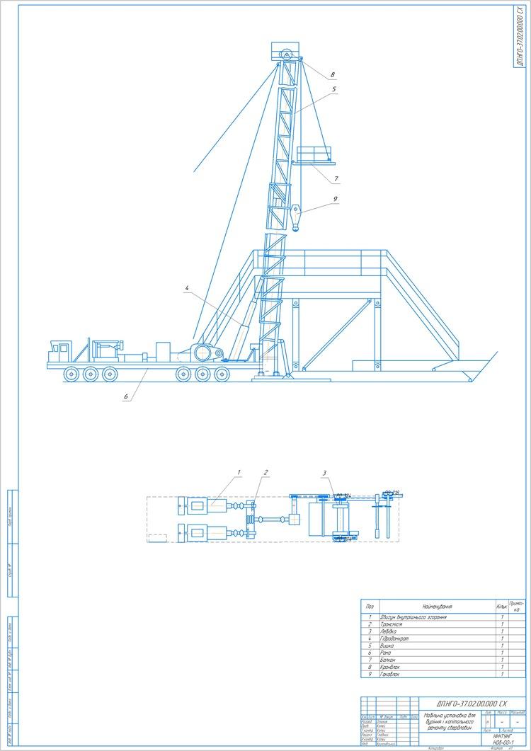 Мобiльна установка для бурiння i капiтального ремонту свердловин