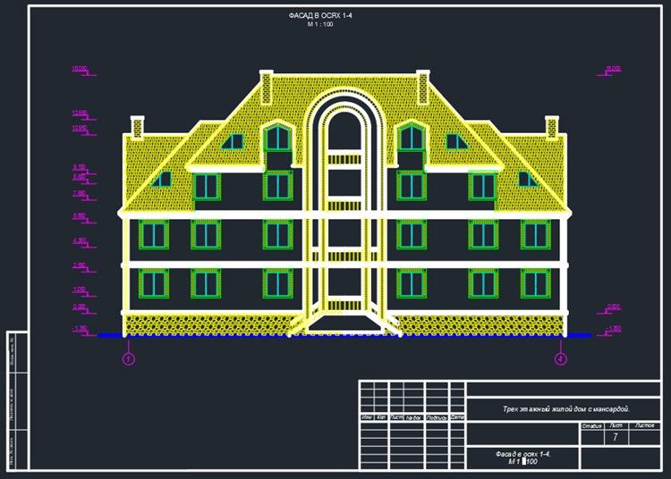 Трехэтажный коттедж